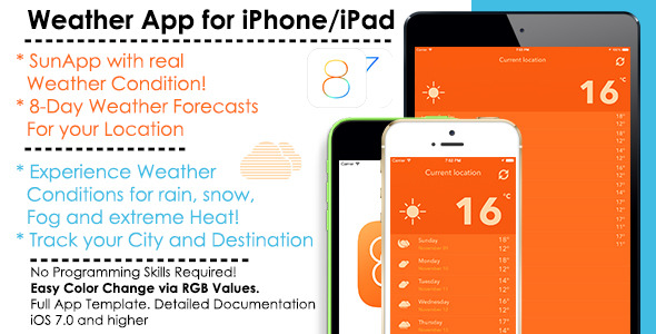 SunApp - Weather iOS Full App Template + AdMob - CodeCanyon Item for Sale