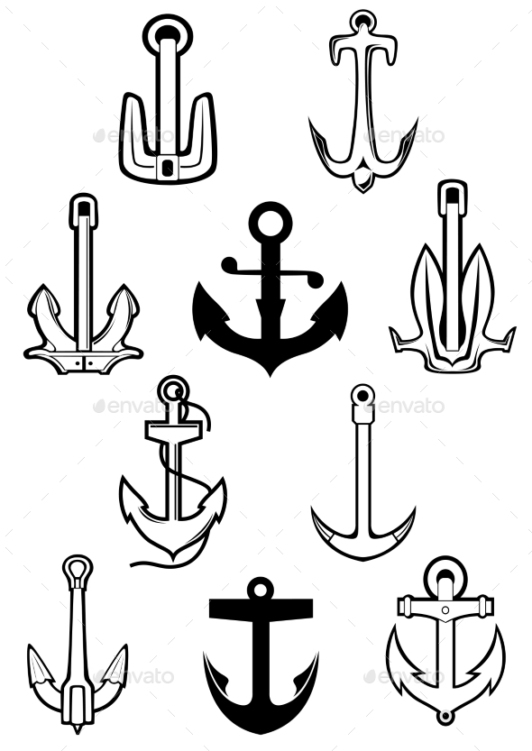 Marine Themed Set of Ships Anchors - Objects Vectors