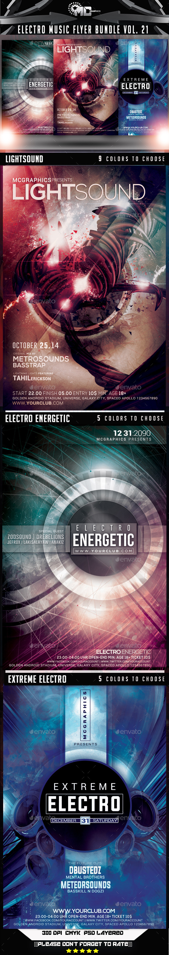 Electro Music Flyer Bundle Vol. 21 - Events Flyers