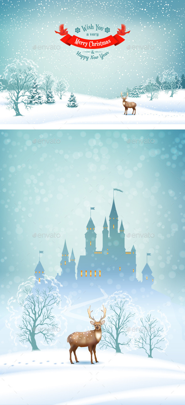 Winter Landscape Vector Background - Christmas Seasons/Holidays