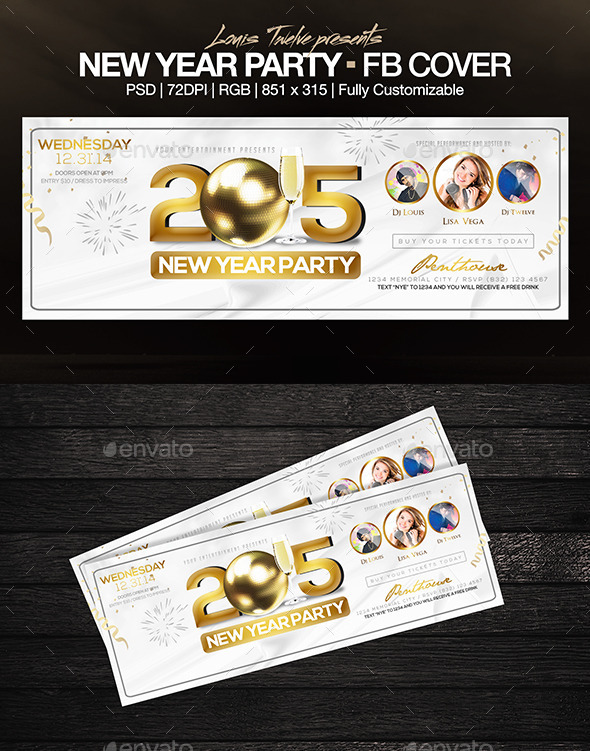 Elegant New Year Party - FB Cover - Facebook Timeline Covers Social Media