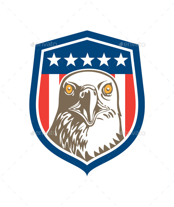 American Bald Eagle Head Stars Shield - Animals Characters