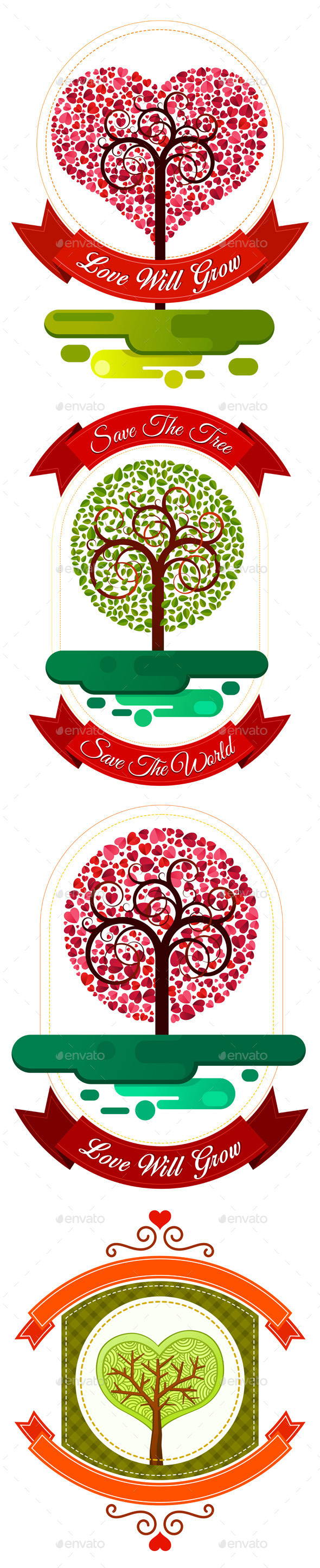 Combination of Heart and Tree Ornament - Flowers & Plants Nature