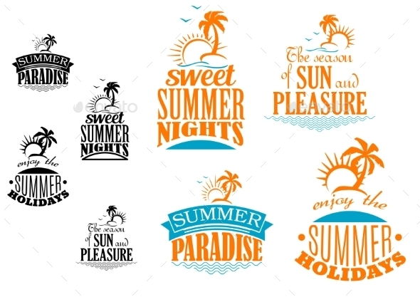 Set of Summer Vacation Icons - Travel Conceptual