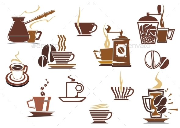 Various Coffee Icons - Food Objects