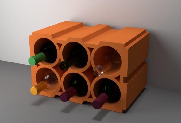 Wine Rack Bricks - 3DOcean Item for Sale