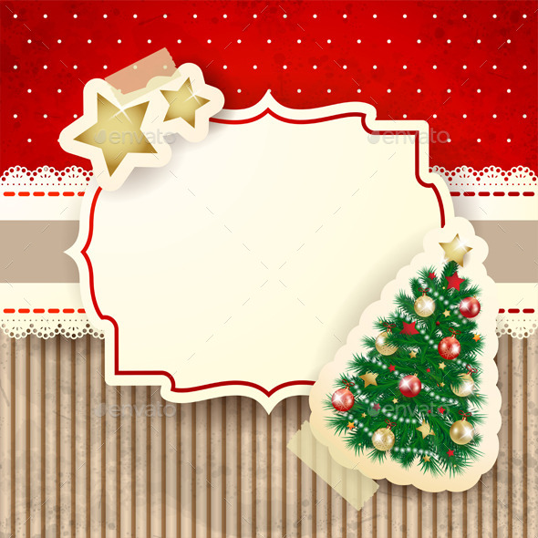 Christmas Background with Label and Tree - Christmas Seasons/Holidays