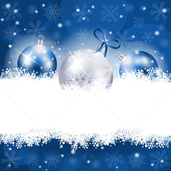 Christmas Background in Blue with Copy Space - Christmas Seasons/Holidays