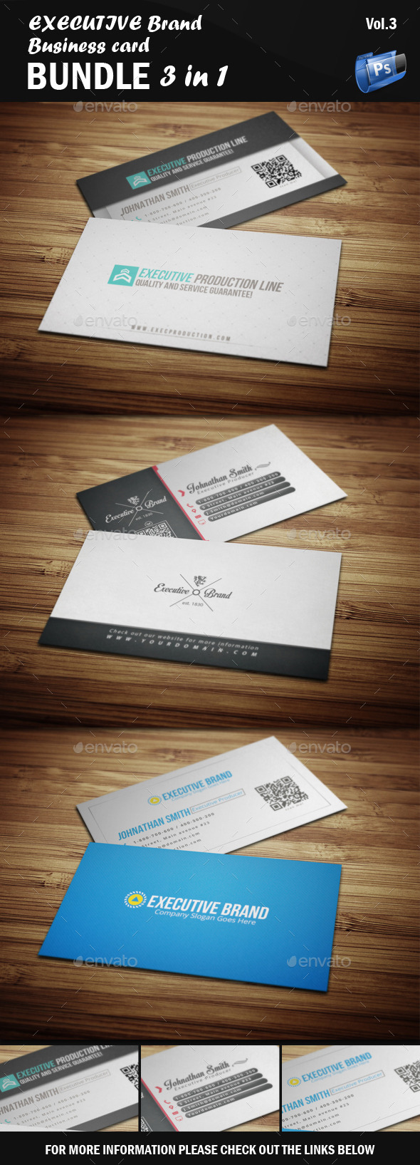 Executive Business Card - Bundle 3 in 1 [Vol.3] - Corporate Business Cards
