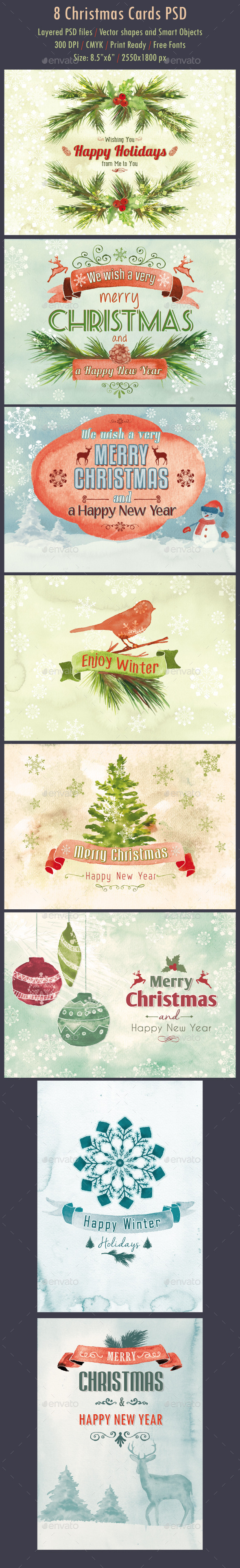 8 Watercolor Christmas Cards PSD - Cards & Invites Print Templates