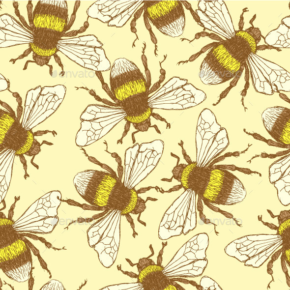 Vintage  Bumble Bee Pattern - Animals Characters