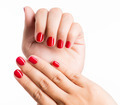 Closeup photo of a female hands with red nails - PhotoDune Item for Sale