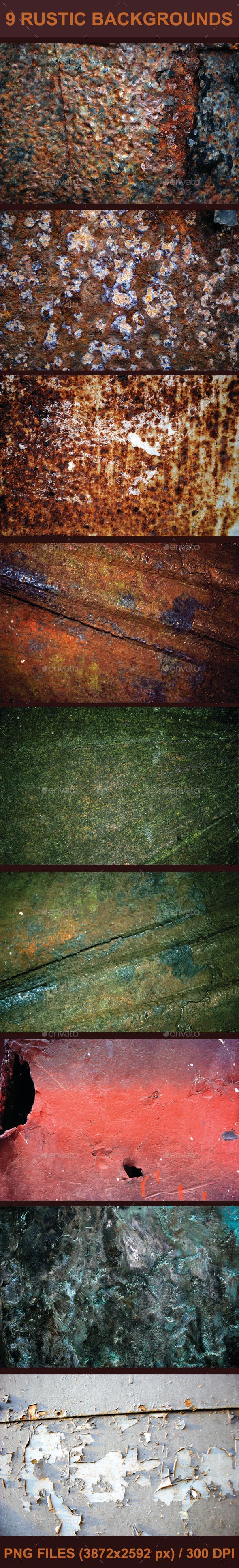 9 Rustic Backgrounds - Metal Textures