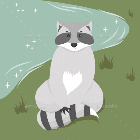 Sitting Raccoon Illustration - Animals Characters
