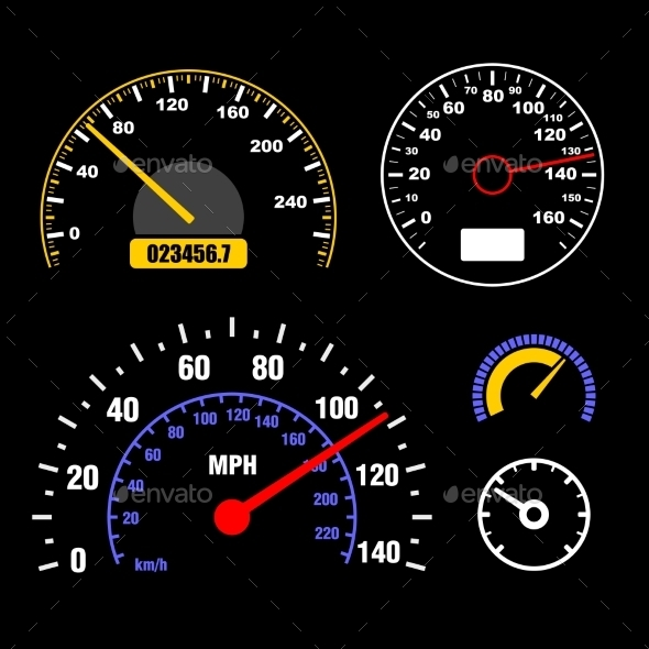 Speedometers Set on Black Background - Technology Conceptual