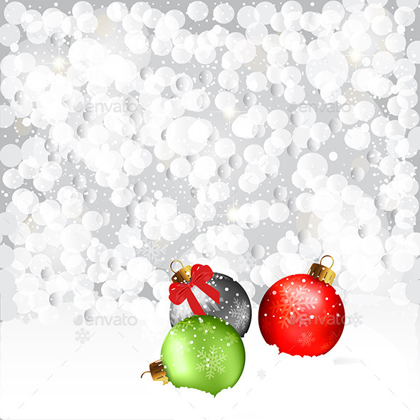 Christmas Baubles In Snow - Christmas Seasons/Holidays