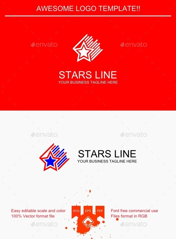Stars Line Logo - Objects Logo Templates