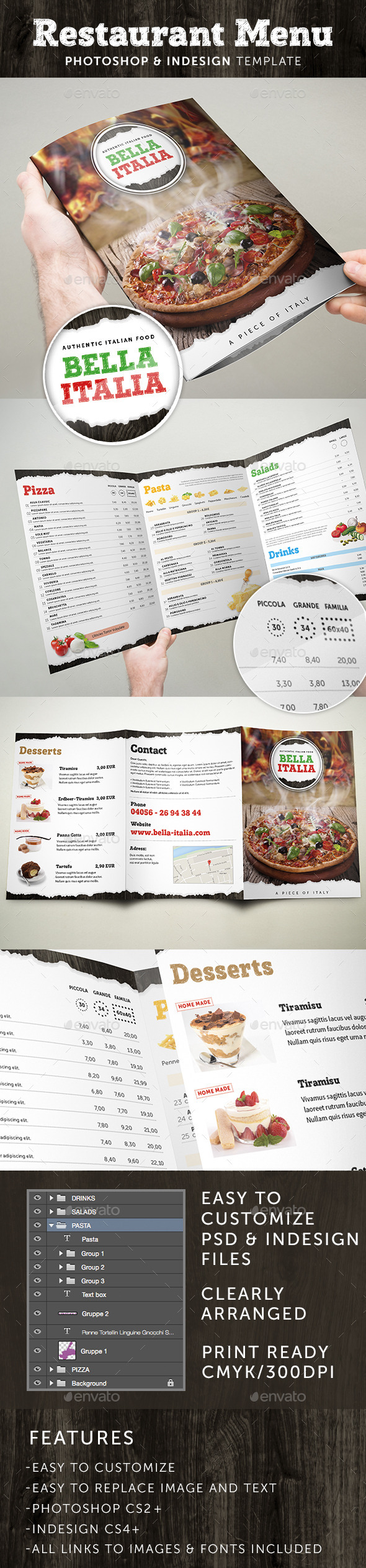 Restaurant menu folder photoshop indesign template by made in germany for Photoshop menu template