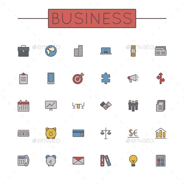 Vector Colored Business Line Icons - Business Icons