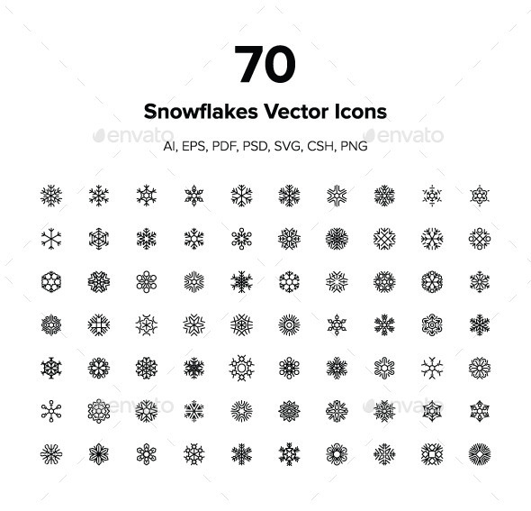 70 Snowflakes Vector Icons - Seasonal Icons