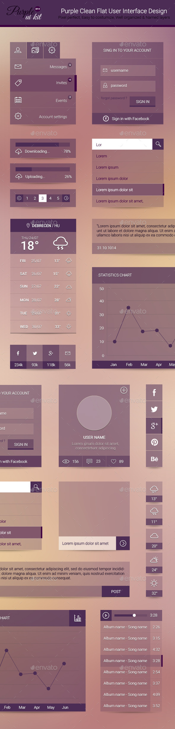 Purple Clean Flat User Interface Design - User Interfaces Web Elements