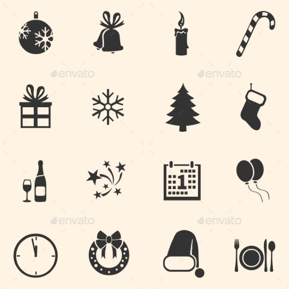 Set of New Year and Christmas Icons - New Year Seasons/Holidays