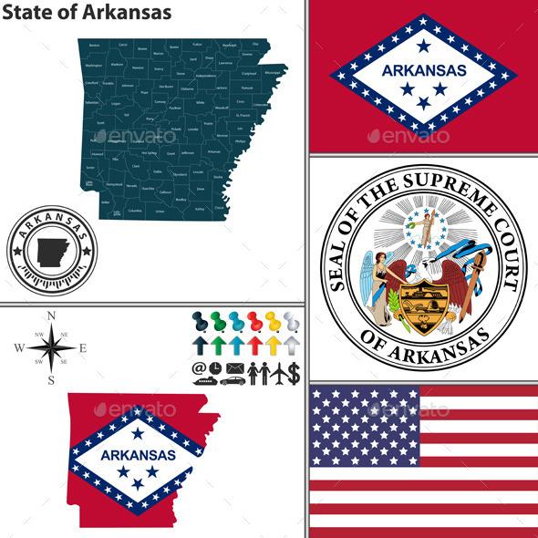 Map of State Arkansas, USA - Travel Conceptual