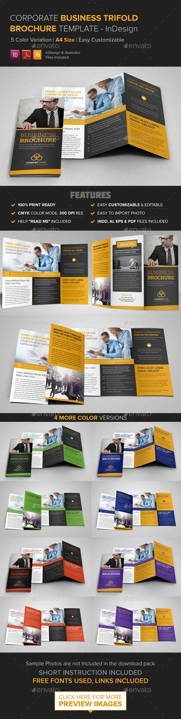 Corporate Business Trifold Brochure - InDesign - Corporate Brochures