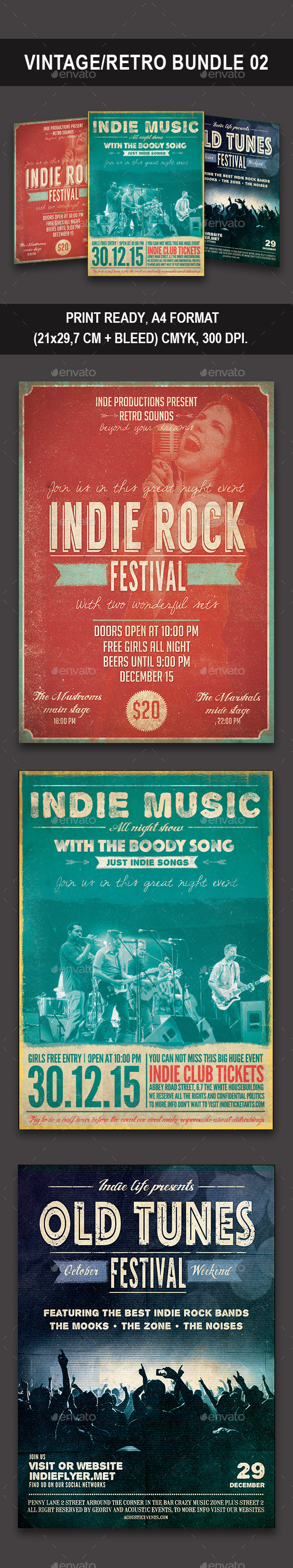 Vintage/Retro Bundle 02 - Flyers Print Templates