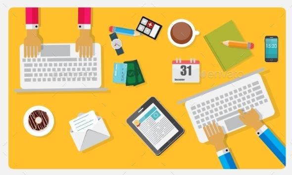 Teamwork Flat Concept Vector Illustration - Communications Technology
