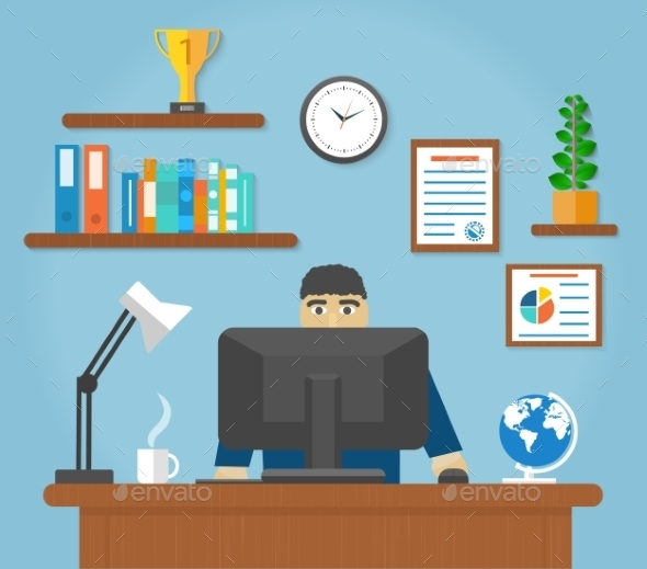 Man Sitting at Computer Desk - Concepts Business