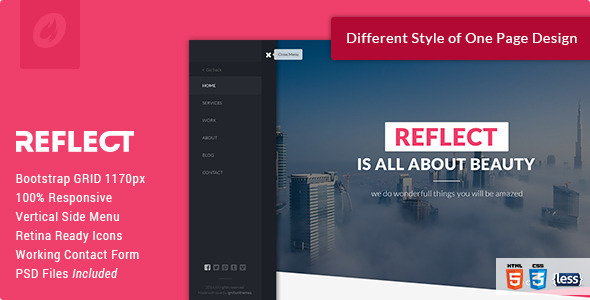 Reflect - Single Page HTML Template - Creative Site Templates