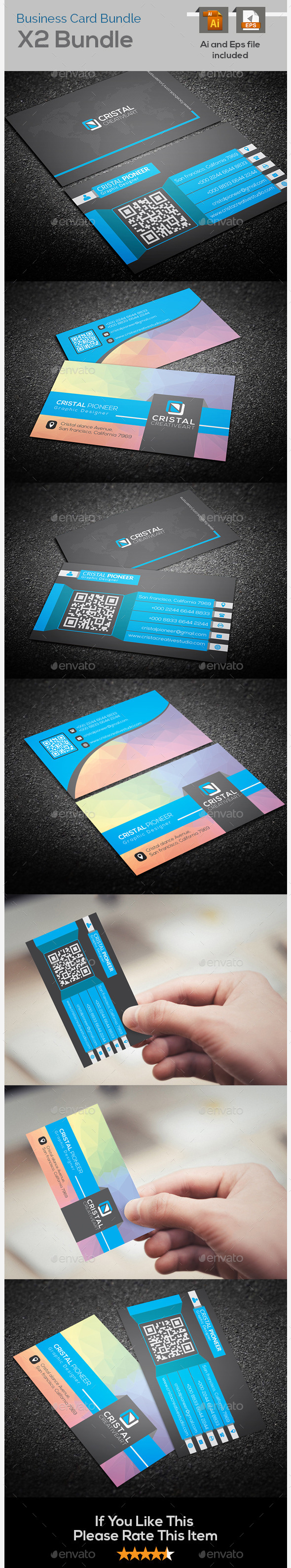 Colorful & Creative Business Card Bundle X2 - Creative Business Cards