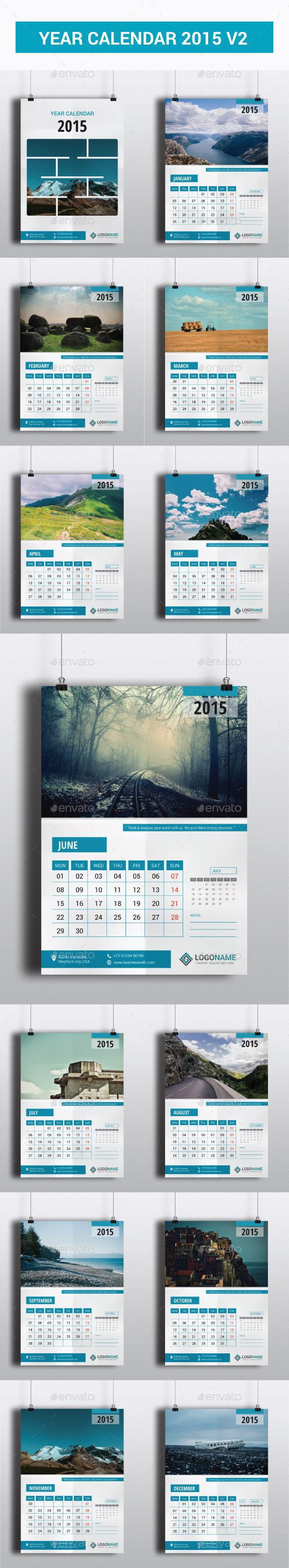 Year Calendar 2015 V2 - Calendars Stationery