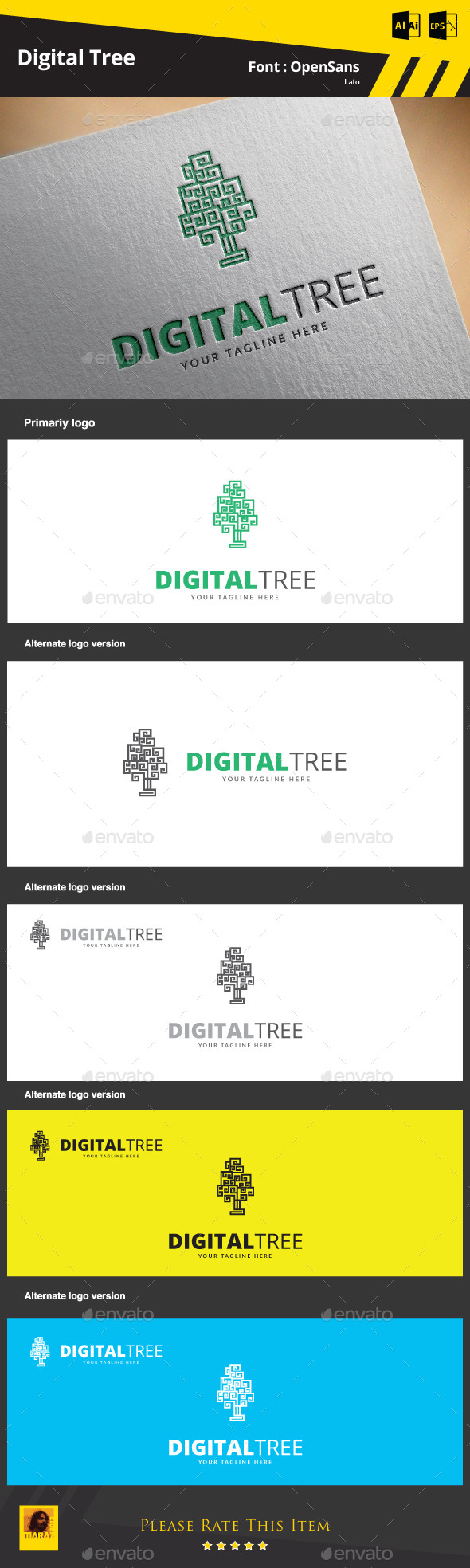 Digital Tree Logo Template - Symbols Logo Templates