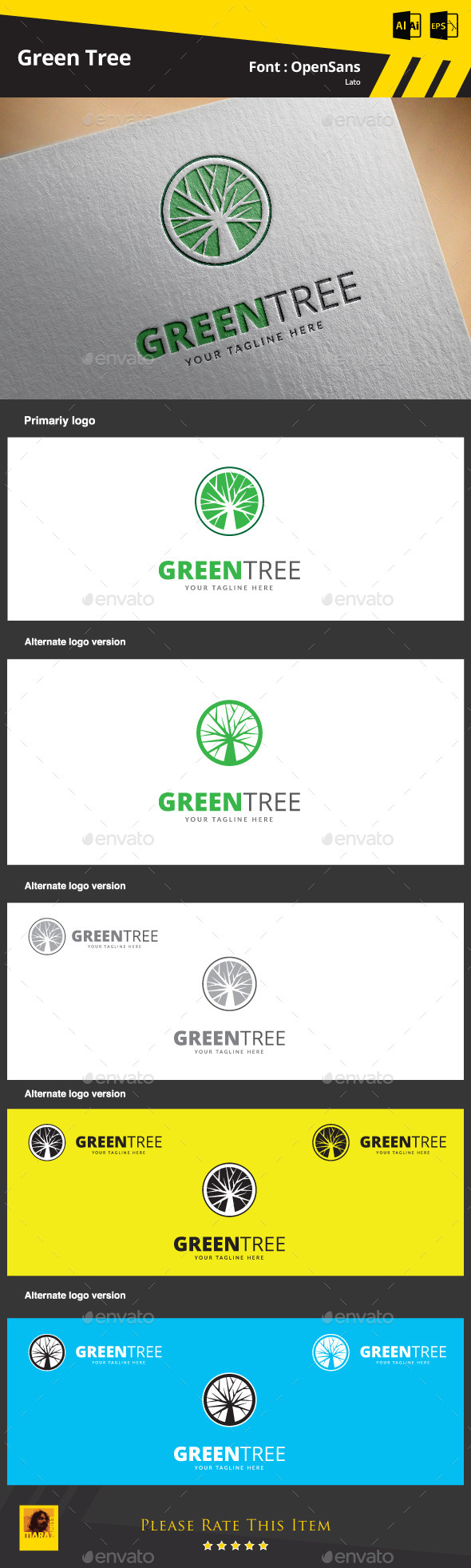 Green Tree Logo Template - Symbols Logo Templates