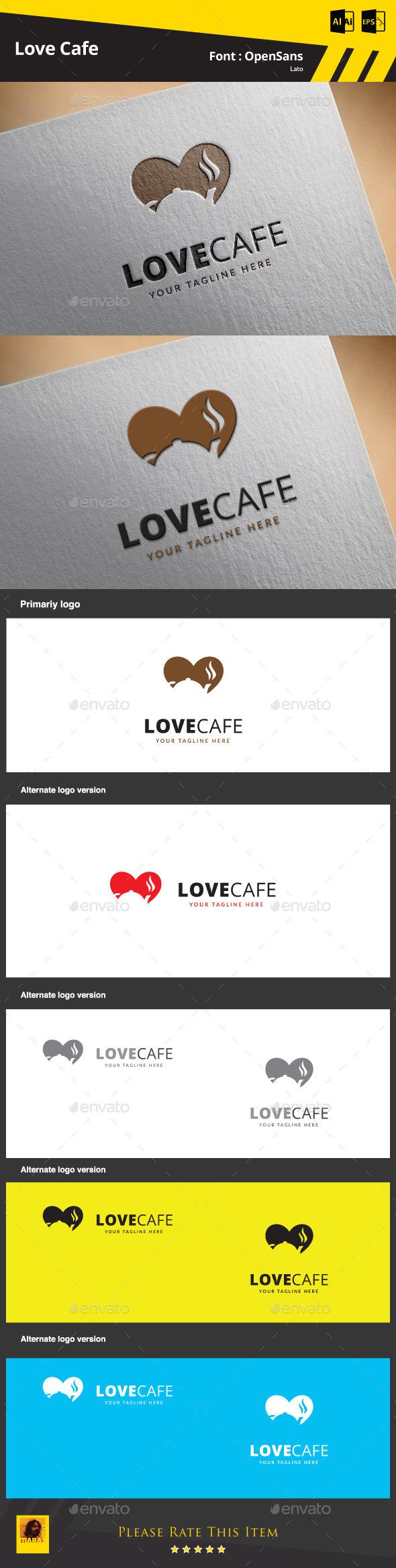 Love Cafe Logo Template - Food Logo Templates