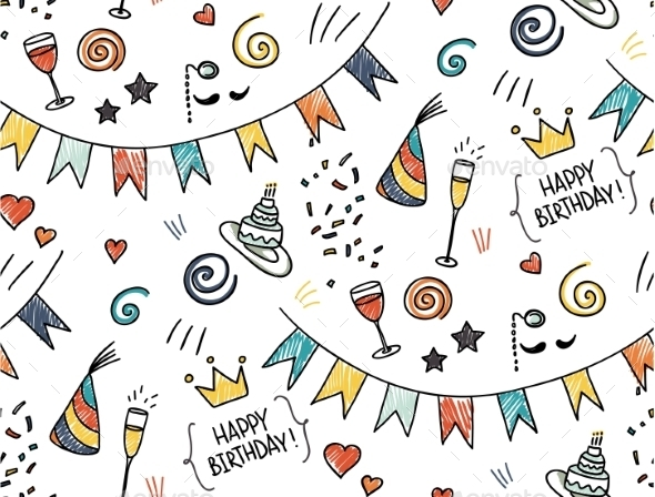 Hand Drawn Seamless Pattern - Birthdays Seasons/Holidays