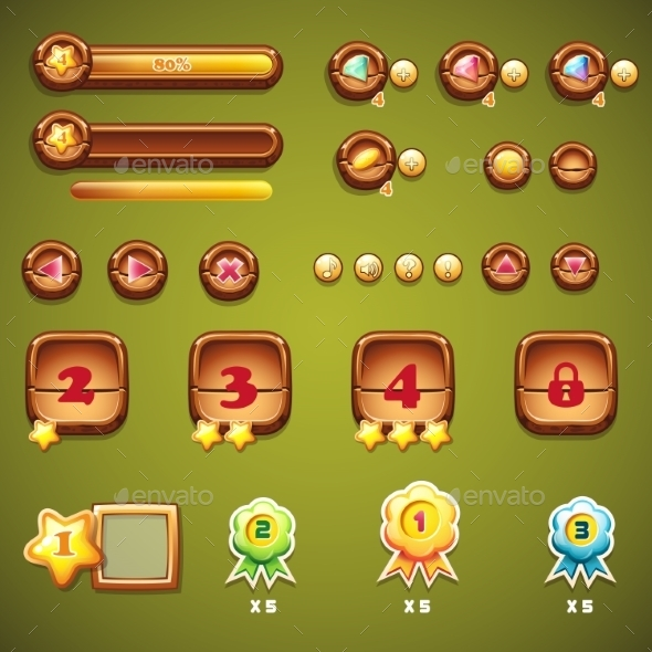 Set of Wooden Buttons, Progress Bars and Elements - Web Technology