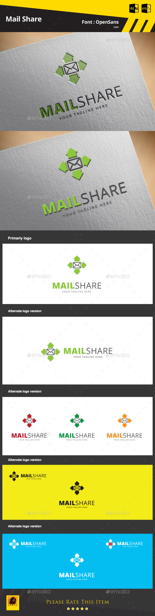 Mail Share Logo Template - Symbols Logo Templates