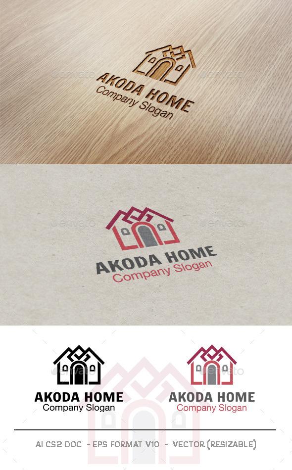 Akoda Home Logo - Buildings Logo Templates