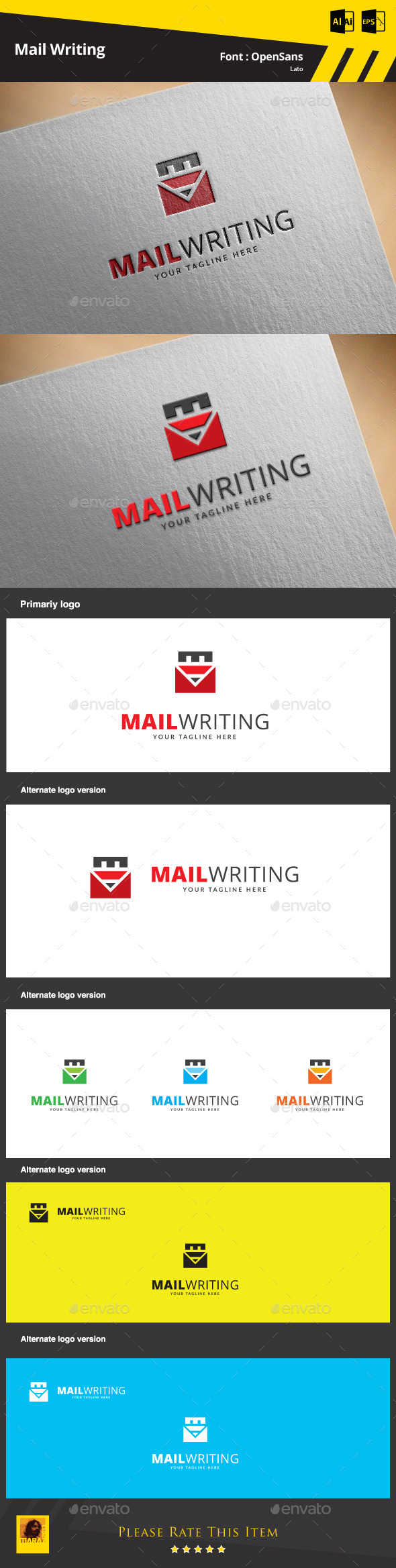 Mail Writing Logo Template - Symbols Logo Templates