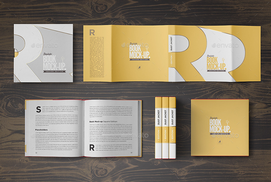 square book mock up dust jacket complete edition by punedesign