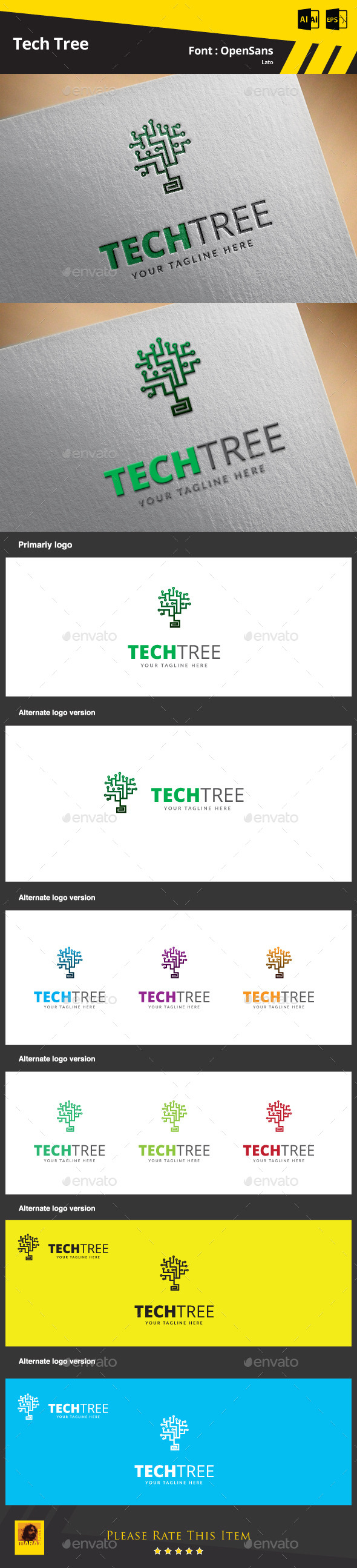 Tech Tree Logo Template - Objects Logo Templates