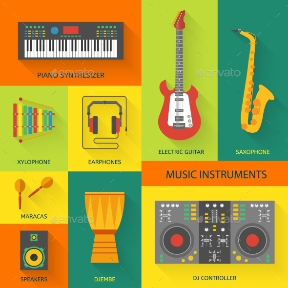 Musical Instruments Flat Icons - Man-made Objects Objects