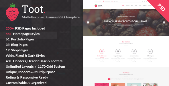 Toot – Multi-purpose Business PSD Template