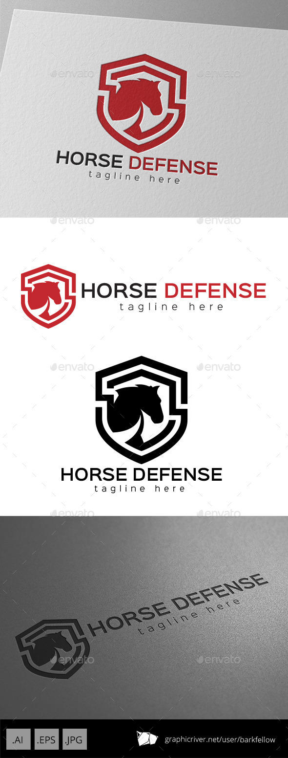Horse Defense Shield Logo - Animals Logo Templates