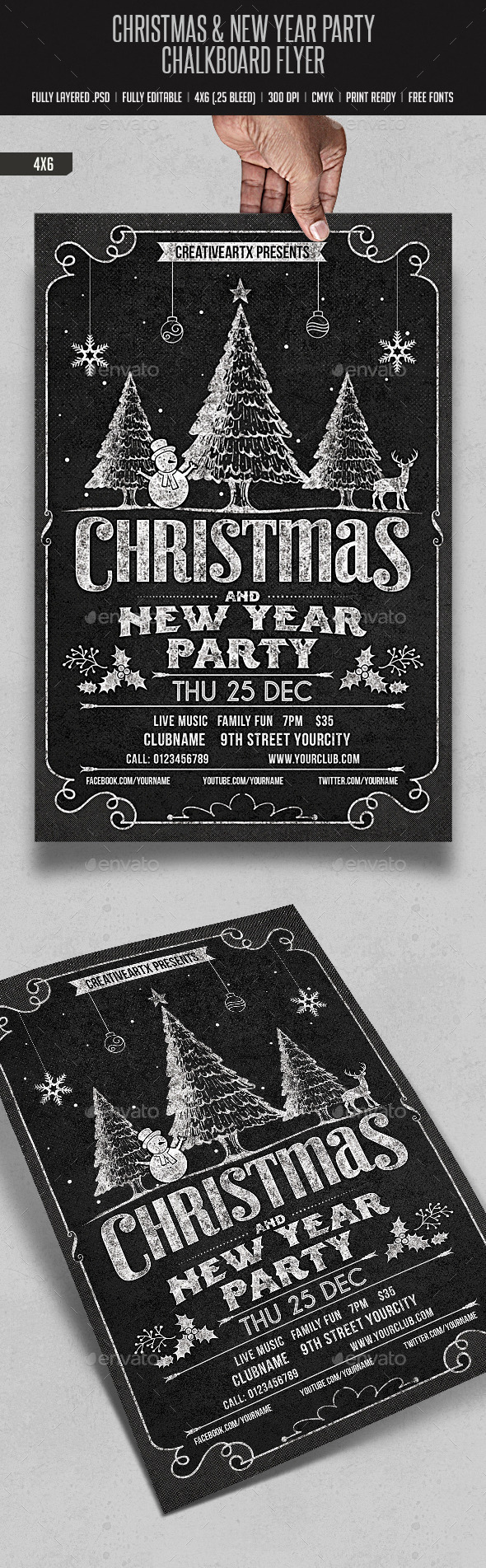 Christmas & New Year Party Chalk Board Flyer - Events Flyers