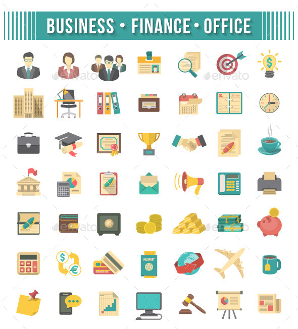 Flat Business and Financial Icons Set - Business Icons