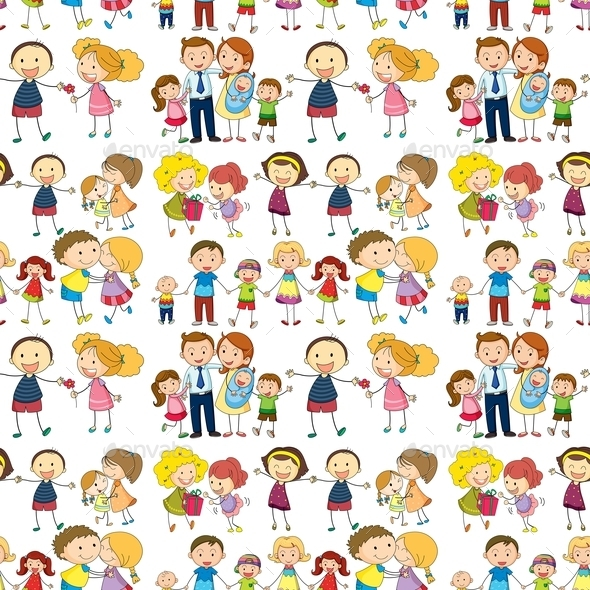 Seamless Family - People Characters